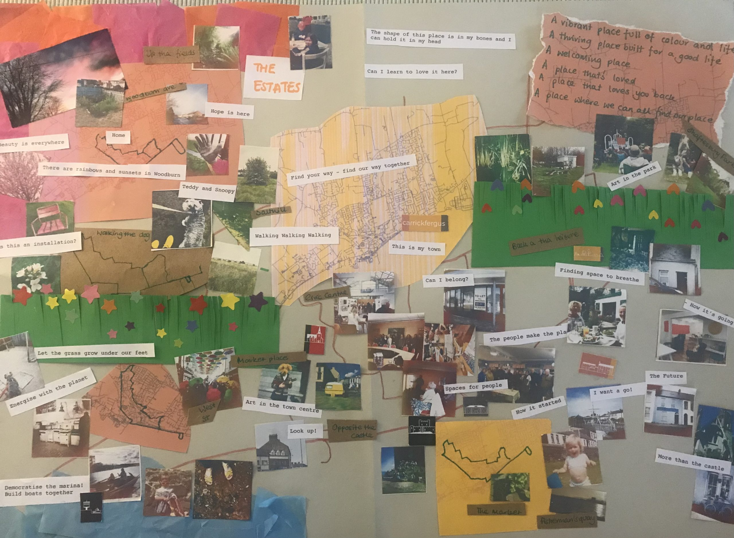 A collage of photographs, maps and typed words about Carrickfergus
