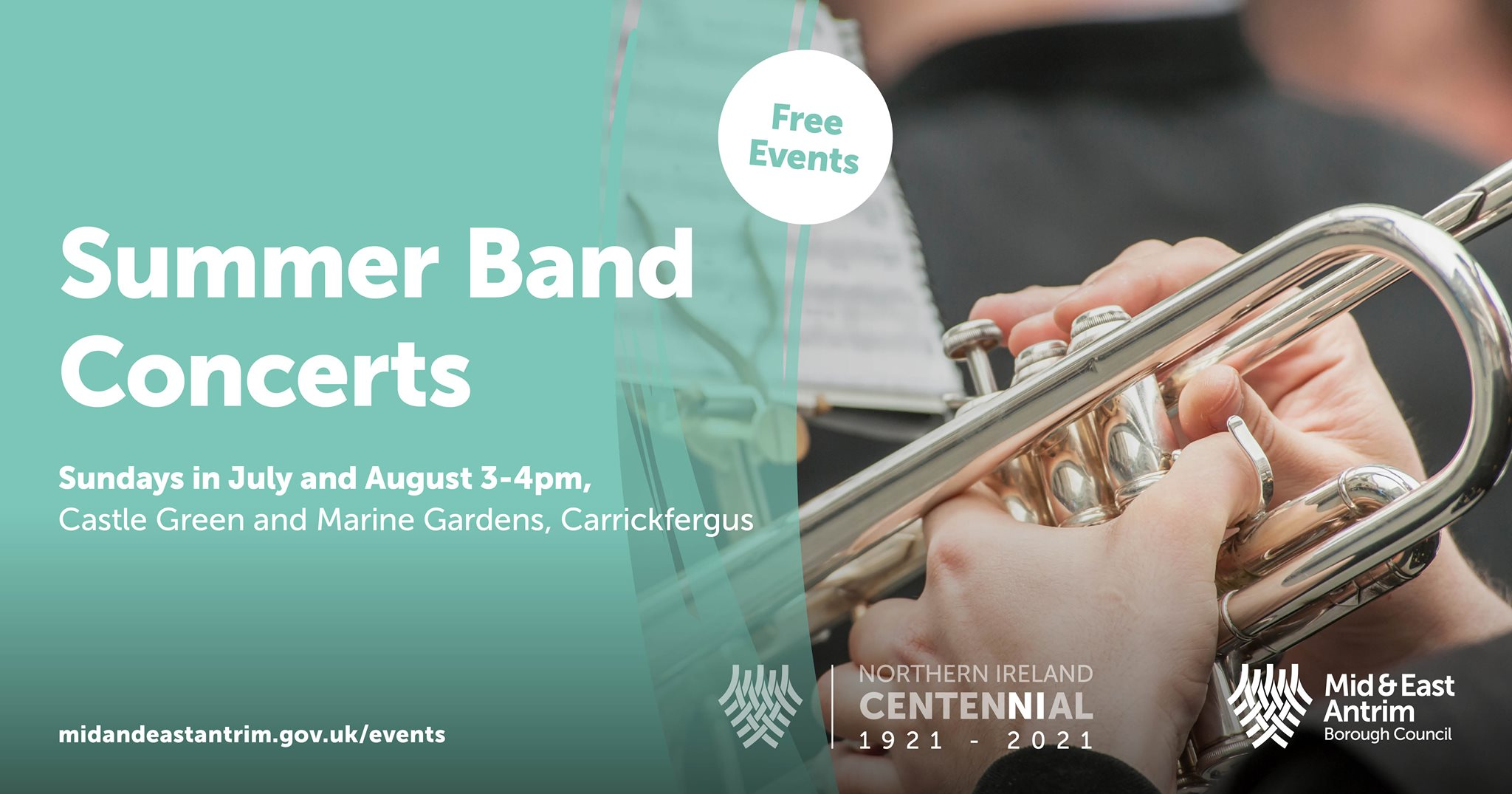 A close up of hands playing a trumpet and information about summer band concerts