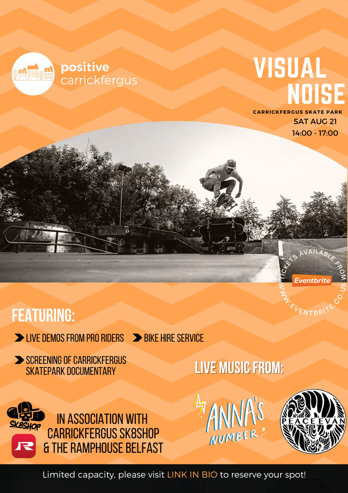 A poster for an urban sports event showing a skate park and skateboarder